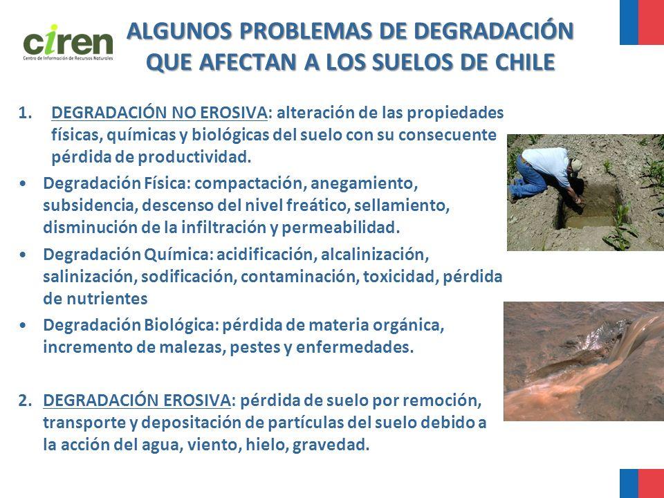 ALGUNOS PROBLEMAS DE DEGRADACIÓN QUE AFECTAN A LOS SUELOS DE CHILE