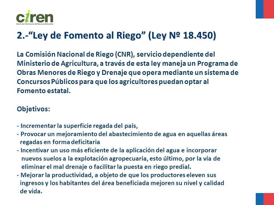 2.- Ley de Fomento al Riego (Ley Nº 18.450)
