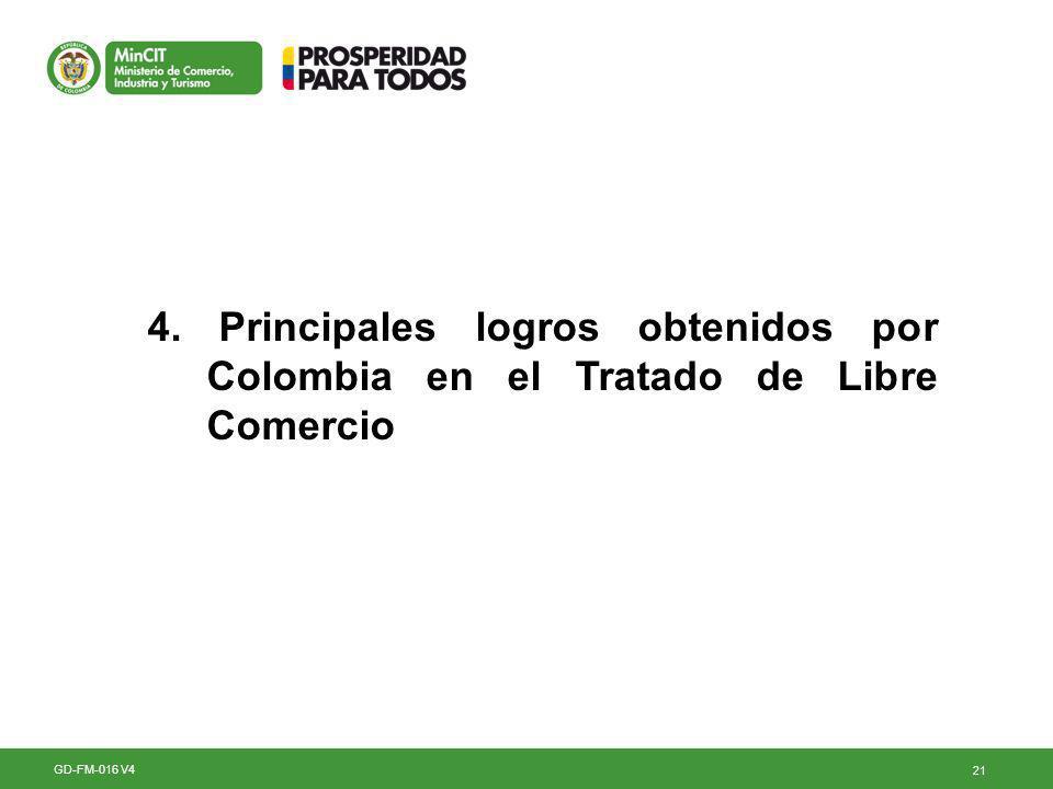 4. Principales logros obtenidos por Colombia en el Tratado de Libre Comercio