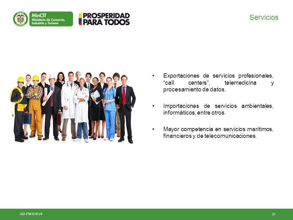 Servicios Exportaciones de servicios profesionales, call centers , telemedicina y procesamiento de datos.
