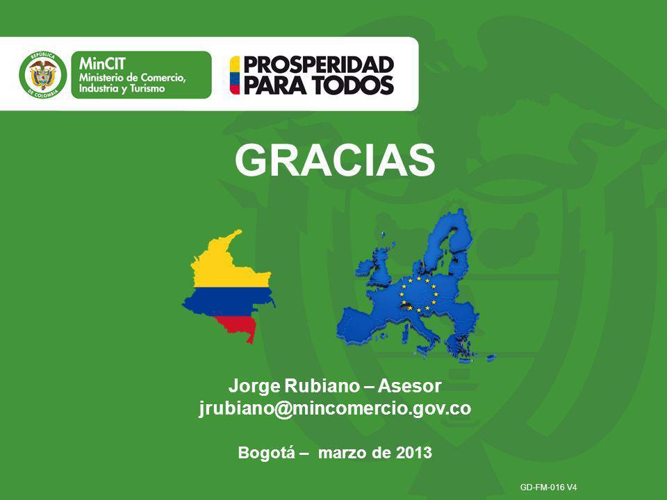 GRACIAS Jorge Rubiano – Asesor jrubiano@mincomercio.gov.co