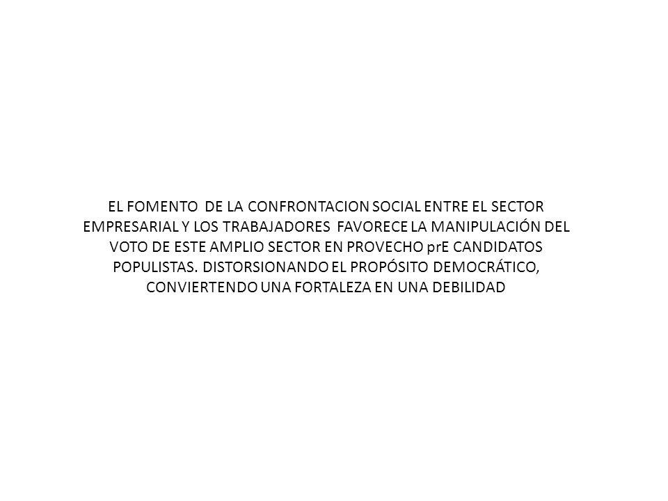 EL FOMENTO DE LA CONFRONTACION SOCIAL ENTRE EL SECTOR EMPRESARIAL Y LOS TRABAJADORES FAVORECE LA MANIPULACIÓN DEL VOTO DE ESTE AMPLIO SECTOR EN PROVECHO prE CANDIDATOS POPULISTAS.