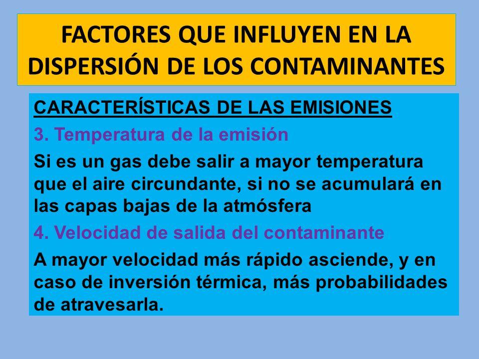 FACTORES QUE INFLUYEN EN LA DISPERSIÓN DE LOS CONTAMINANTES