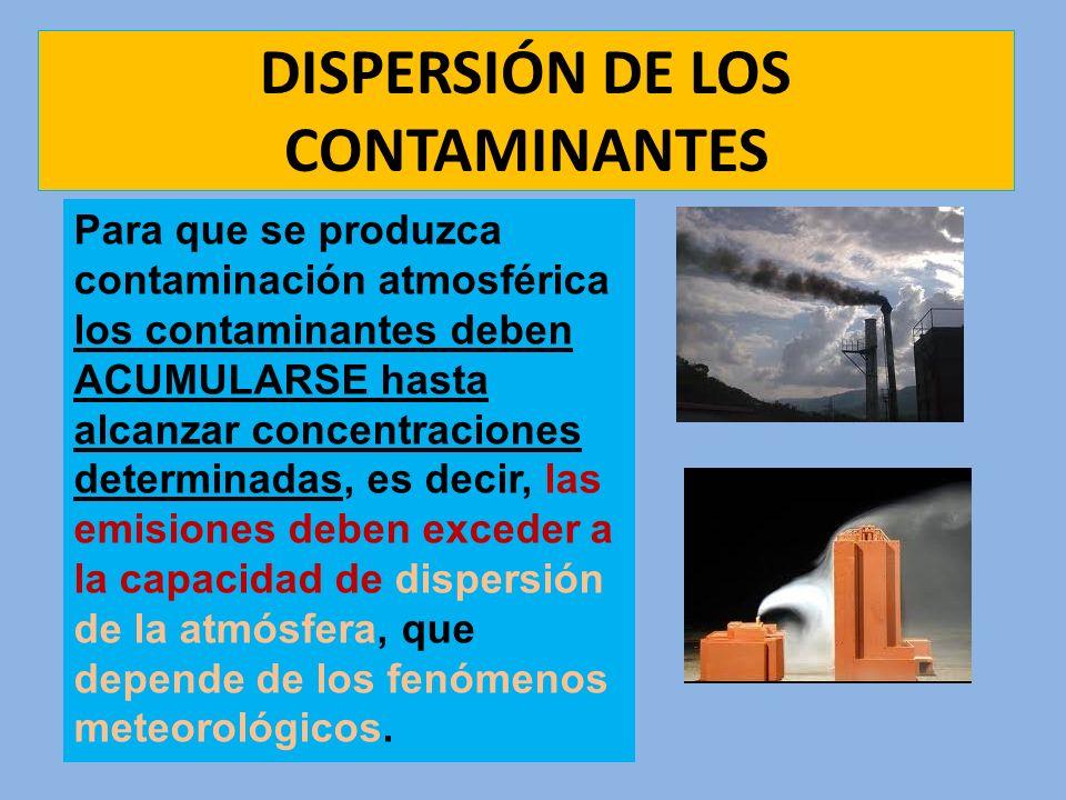 DISPERSIÓN DE LOS CONTAMINANTES