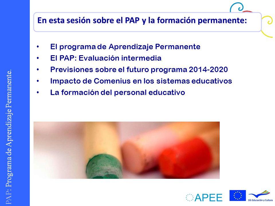 En esta sesión sobre el PAP y la formación permanente: