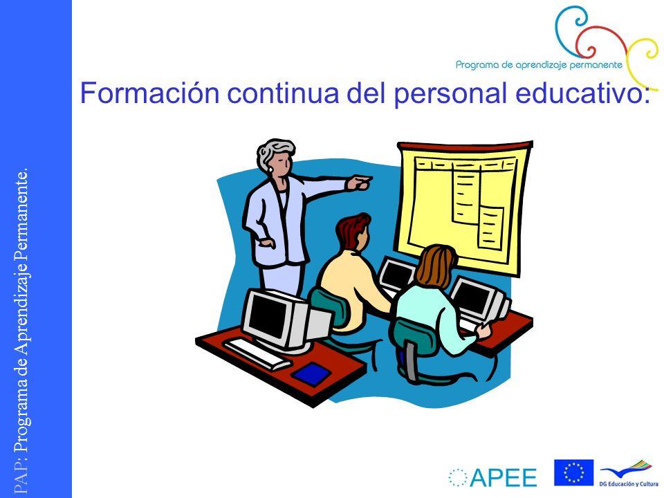 Formación continua del personal educativo: