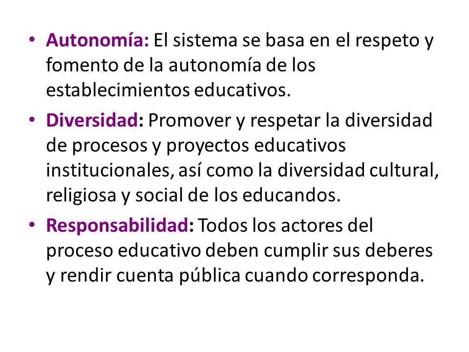 Autonomía: El sistema se basa en el respeto y fomento de la autonomía de los establecimientos educativos.