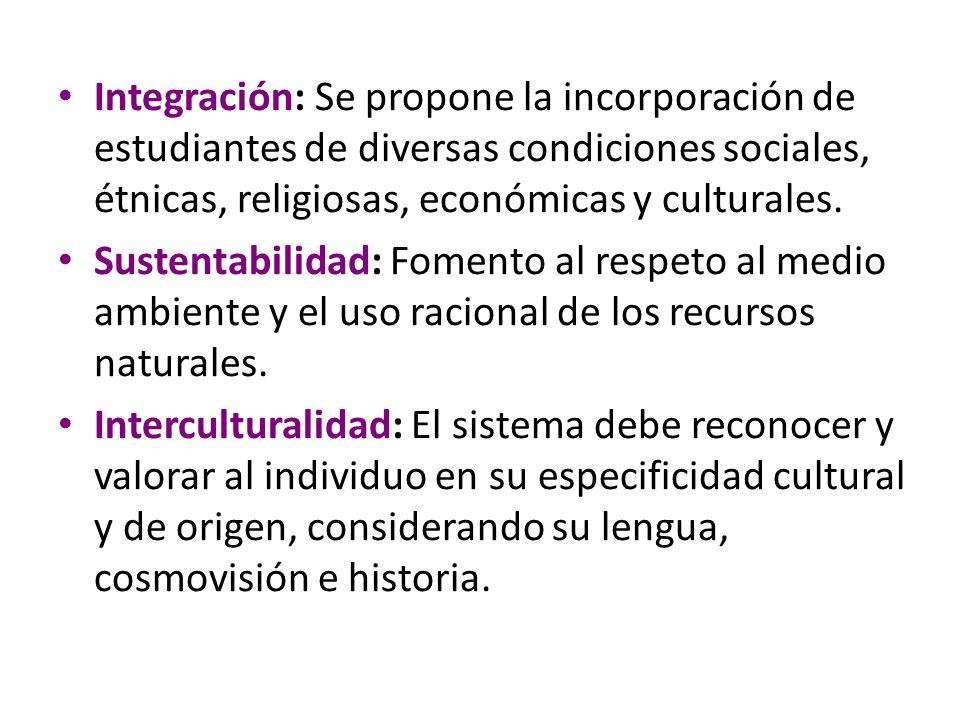 Integración: Se propone la incorporación de estudiantes de diversas condiciones sociales, étnicas, religiosas, económicas y culturales.
