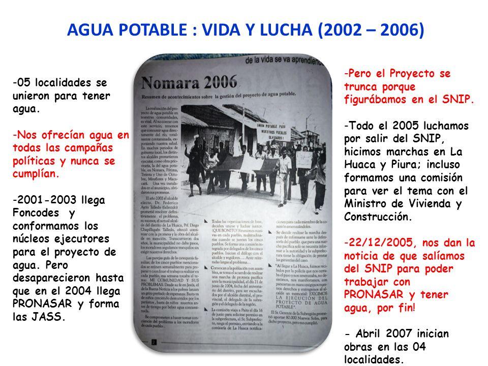AGUA POTABLE : VIDA Y LUCHA (2002 – 2006)
