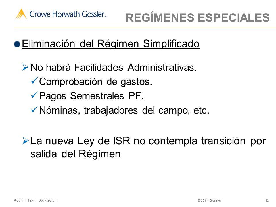 REGÍMENES ESPECIALES Eliminación del Régimen Simplificado