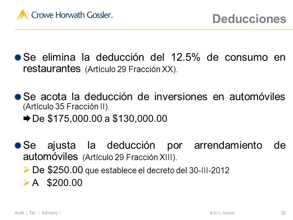 Deducciones Se elimina la deducción del 12.5% de consumo en restaurantes (Artículo 29 Fracción XX).