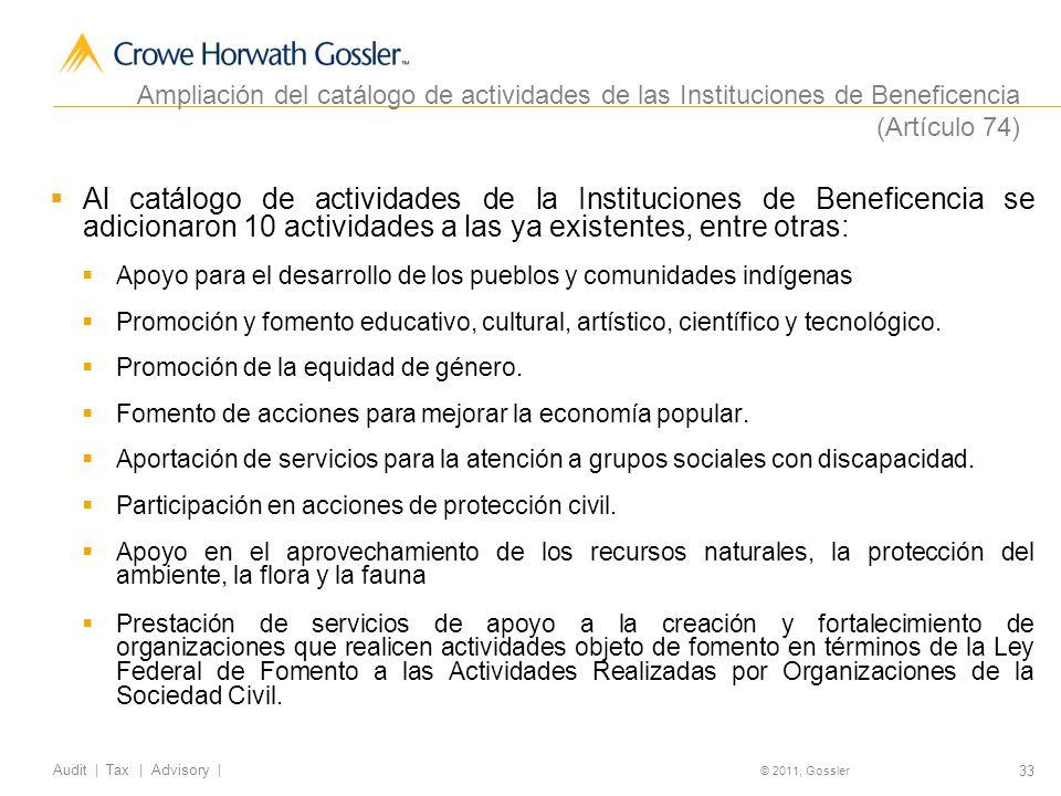 Ampliación del catálogo de actividades de las Instituciones de Beneficencia (Artículo 74)
