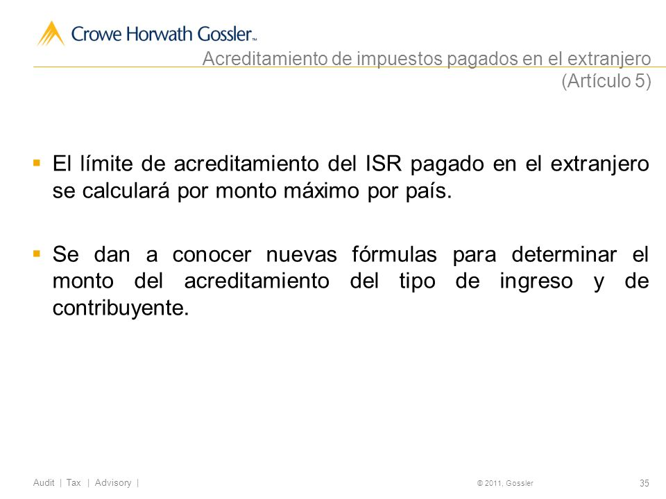 Acreditamiento de impuestos pagados en el extranjero (Artículo 5)