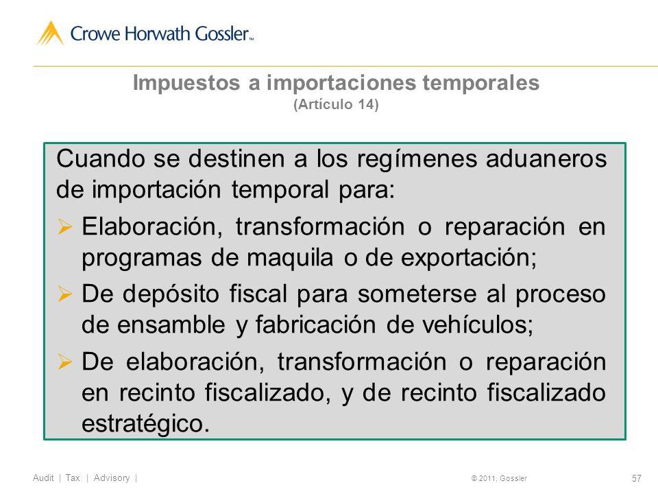 Impuestos a importaciones temporales (Artículo 14)