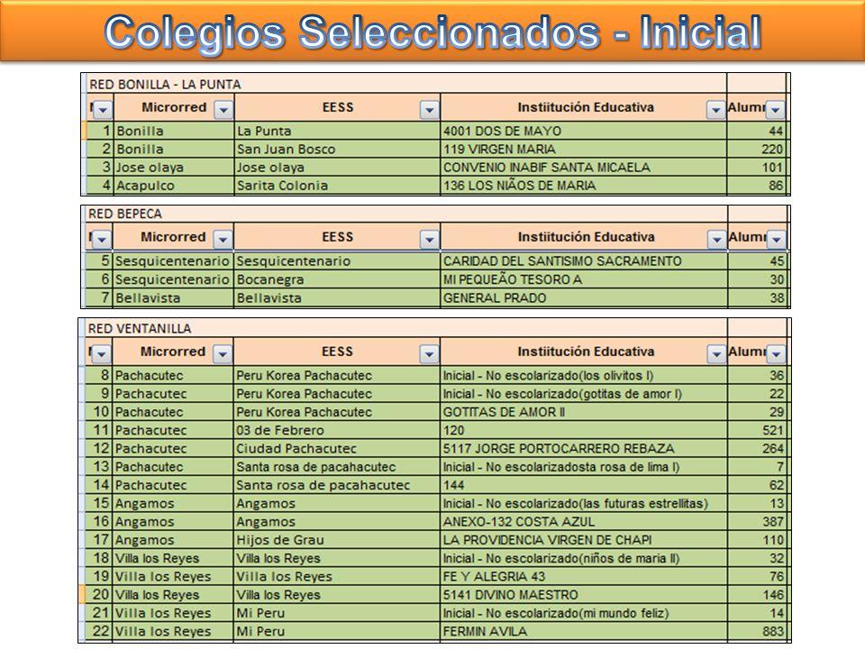 Colegios Seleccionados - Inicial