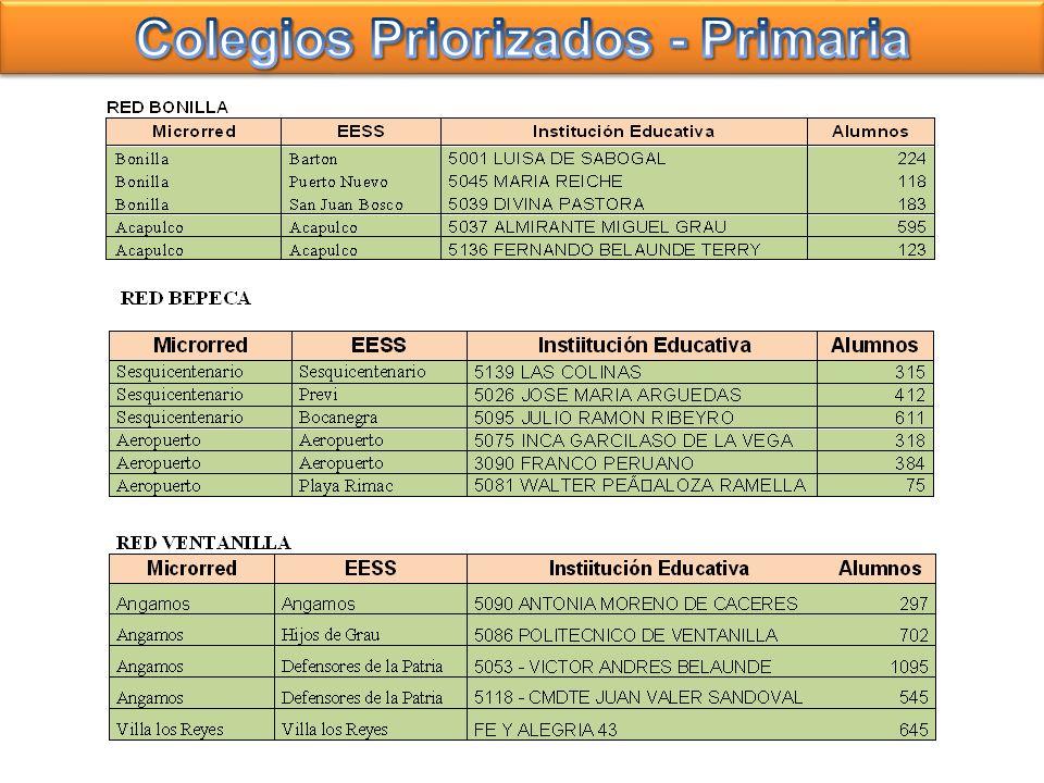 Colegios Priorizados - Primaria