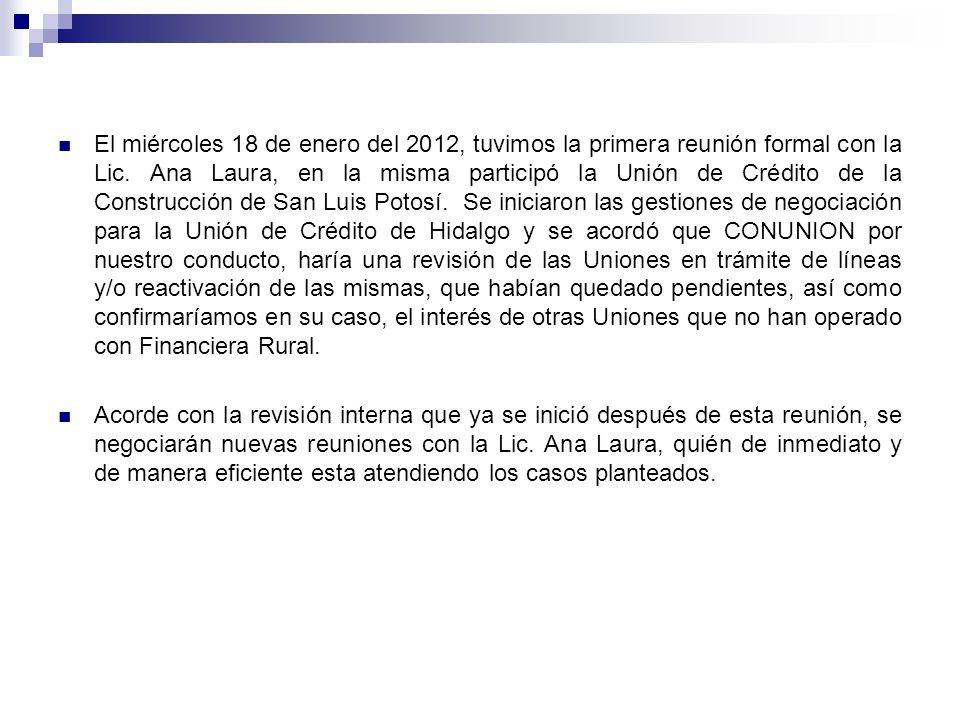 El miércoles 18 de enero del 2012, tuvimos la primera reunión formal con la Lic. Ana Laura, en la misma participó la Unión de Crédito de la Construcción de San Luis Potosí. Se iniciaron las gestiones de negociación para la Unión de Crédito de Hidalgo y se acordó que CONUNION por nuestro conducto, haría una revisión de las Uniones en trámite de líneas y/o reactivación de las mismas, que habían quedado pendientes, así como confirmaríamos en su caso, el interés de otras Uniones que no han operado con Financiera Rural.