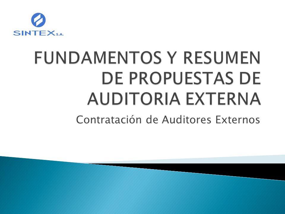 FUNDAMENTOS Y RESUMEN DE PROPUESTAS DE AUDITORIA EXTERNA