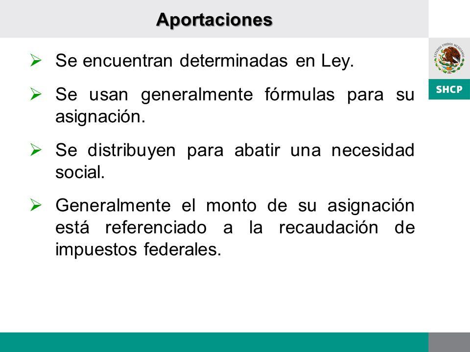 Aportaciones Se encuentran determinadas en Ley. Se usan generalmente fórmulas para su asignación.