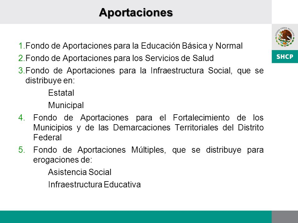 Aportaciones Fondo de Aportaciones para la Educación Básica y Normal