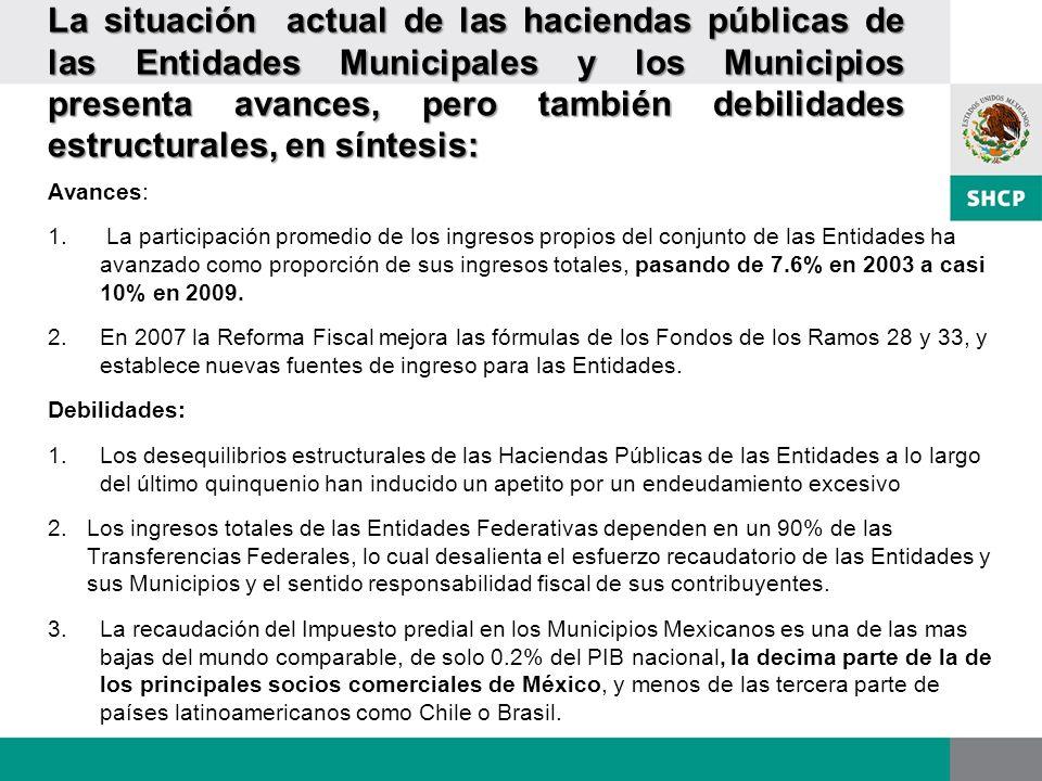 La situación actual de las haciendas públicas de las Entidades Municipales y los Municipios presenta avances, pero también debilidades estructurales, en síntesis:
