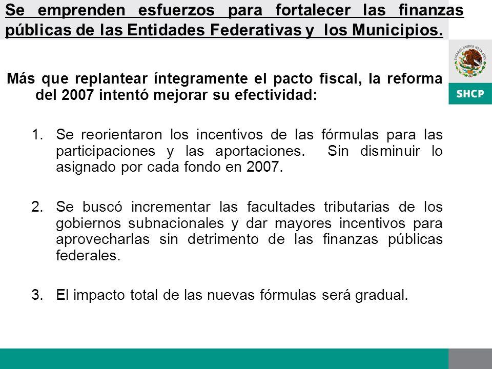 Se emprenden esfuerzos para fortalecer las finanzas públicas de las Entidades Federativas y los Municipios.