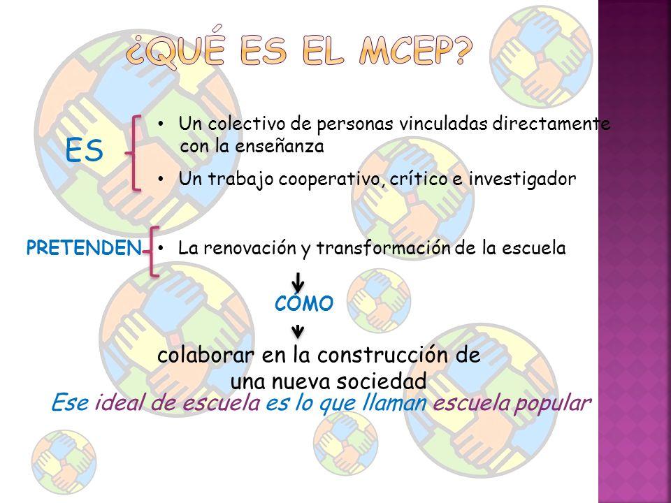 ¿Qué es el MCEP ES. Un colectivo de personas vinculadas directamente. con la enseñanza. Un trabajo cooperativo, crítico e investigador.