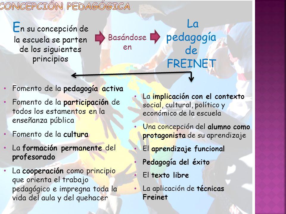 En su concepción de la escuela se parten de los siguientes principios