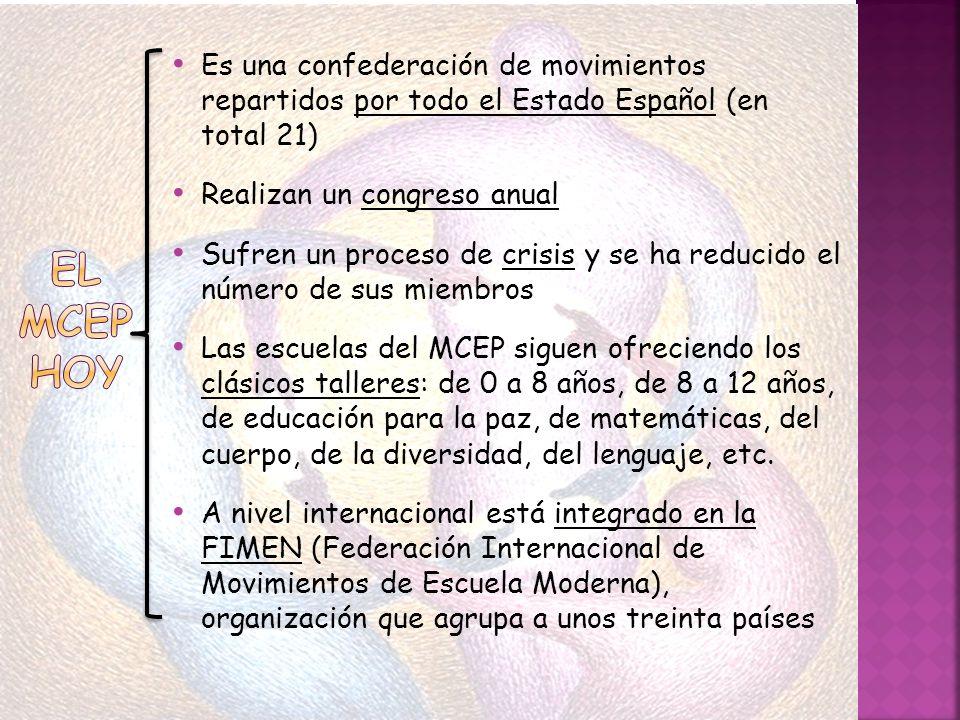 Es una confederación de movimientos repartidos por todo el Estado Español (en total 21)