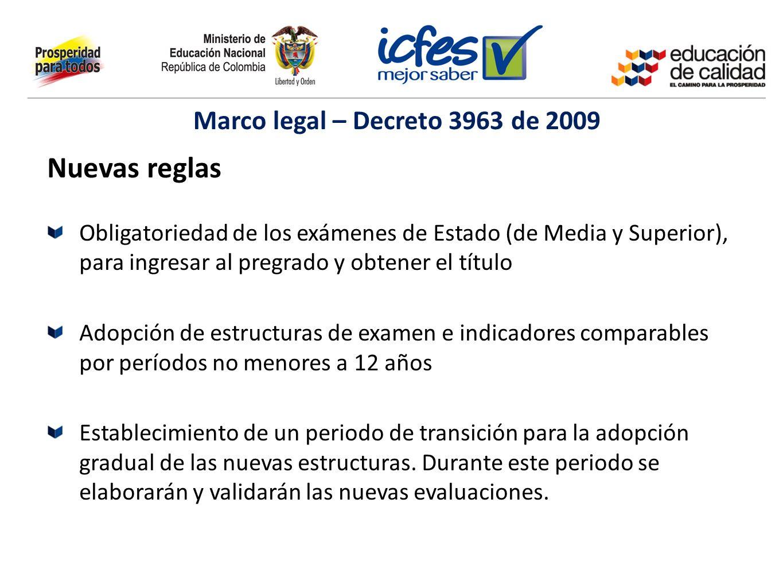 Marco legal – Decreto 3963 de 2009