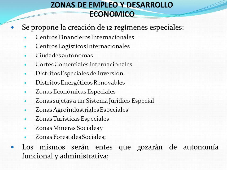 ZONAS DE EMPLEO Y DESARROLLO ECONOMICO