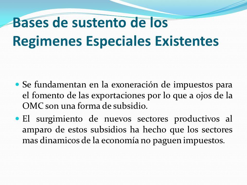 Bases de sustento de los Regimenes Especiales Existentes