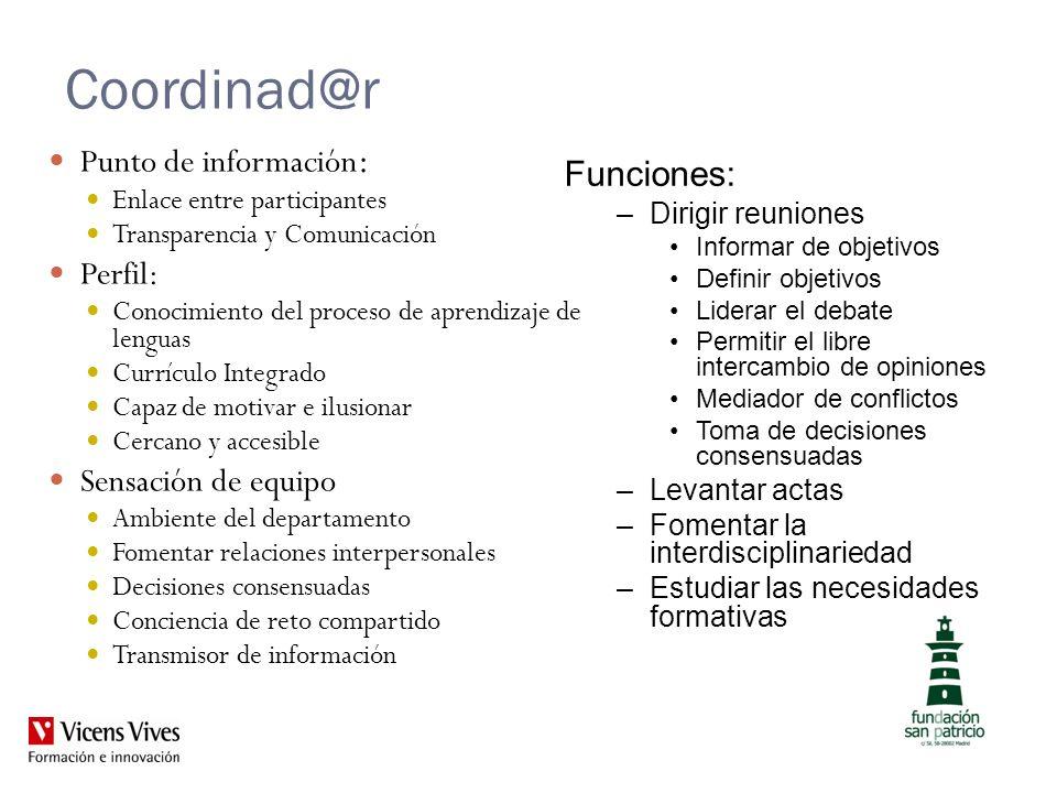 Coordinad@r Punto de información: Funciones: Perfil: