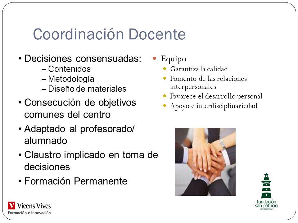 Coordinación Docente Decisiones consensuadas: Equipo