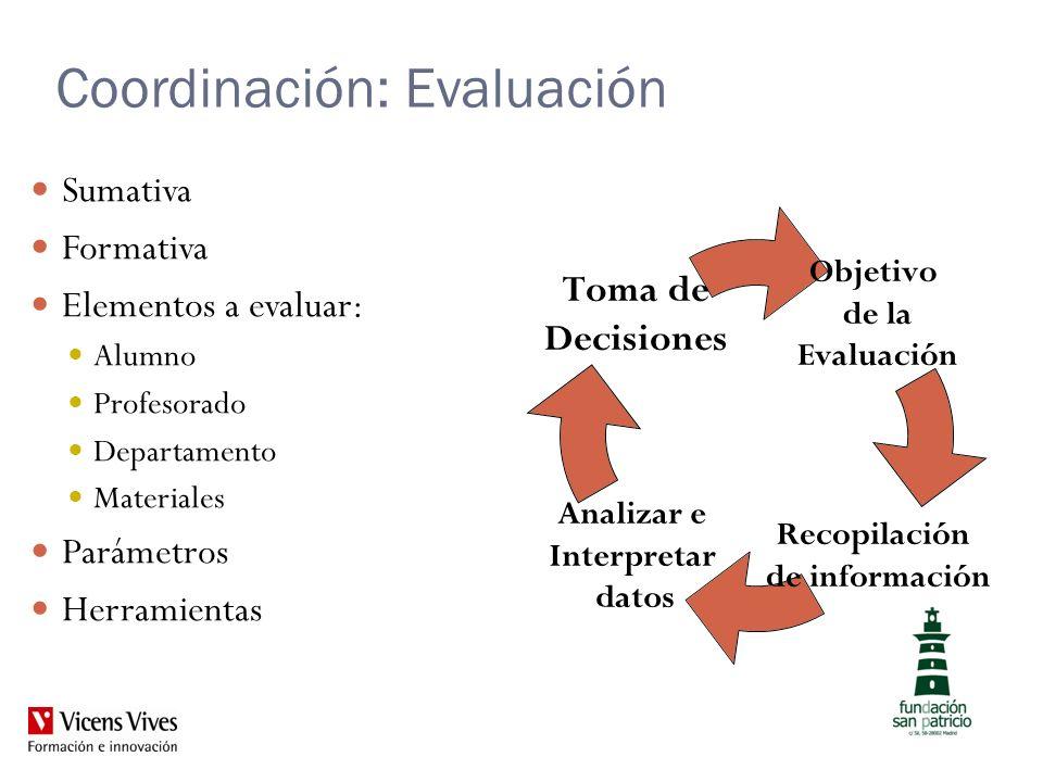 Coordinación: Evaluación