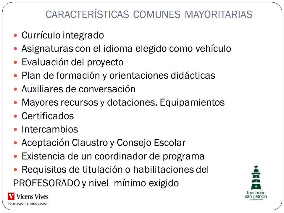CARACTERÍSTICAS COMUNES MAYORITARIAS