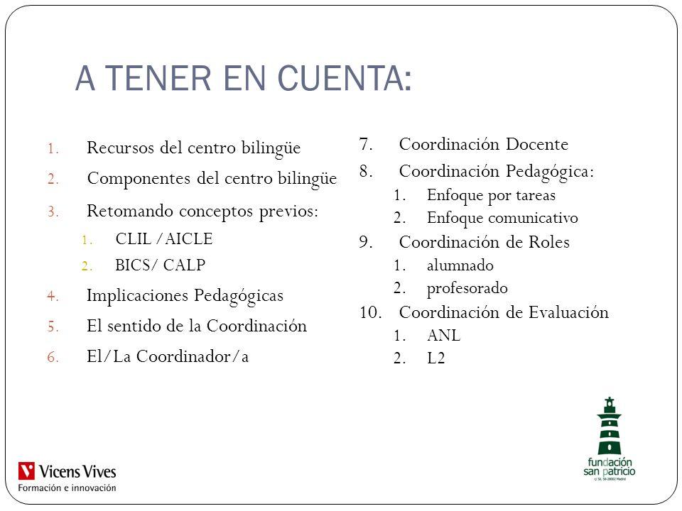 A TENER EN CUENTA: Recursos del centro bilingüe