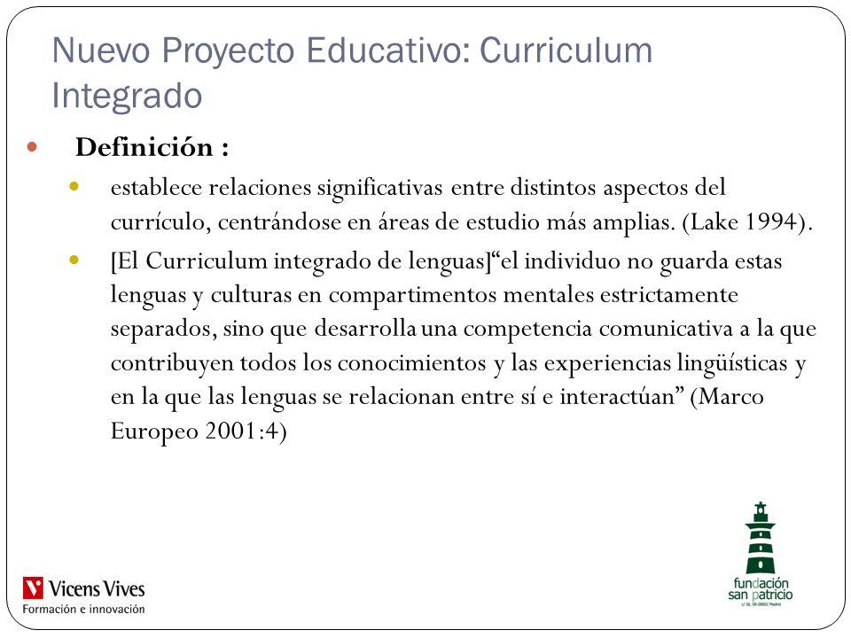 Nuevo Proyecto Educativo: Curriculum Integrado