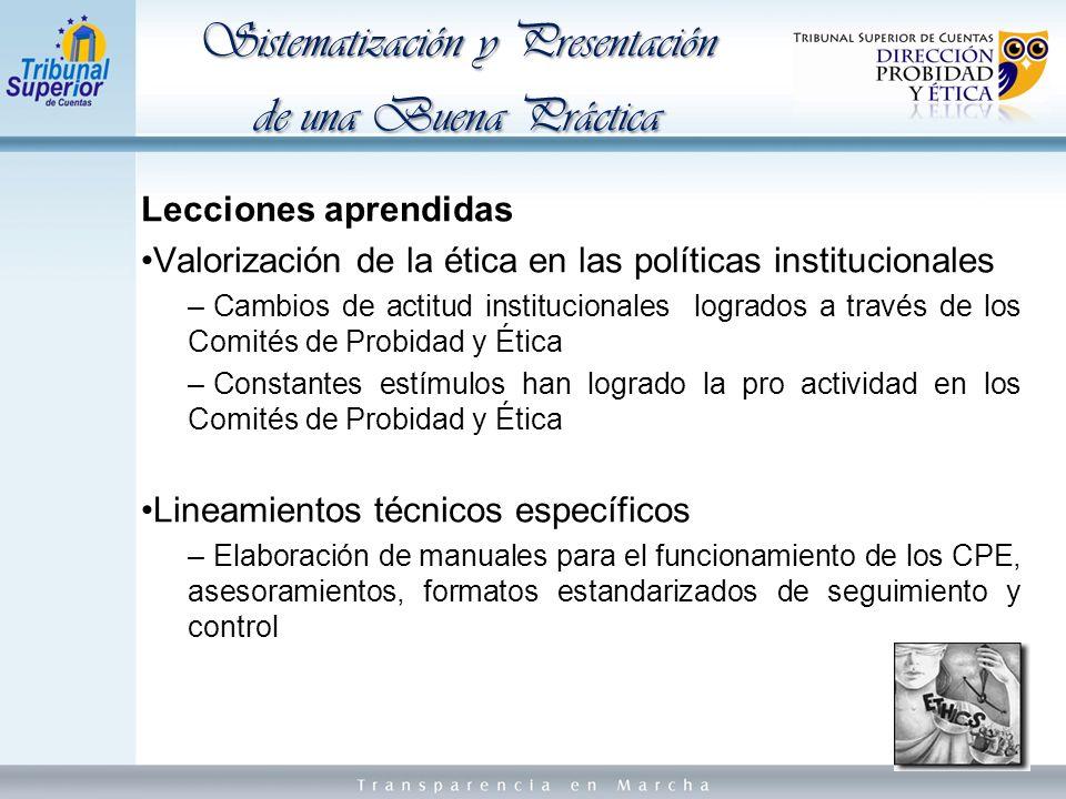 Sistematización y Presentación