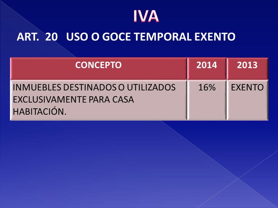 IVA ART. 20 USO O GOCE TEMPORAL EXENTO CONCEPTO 2014 2013