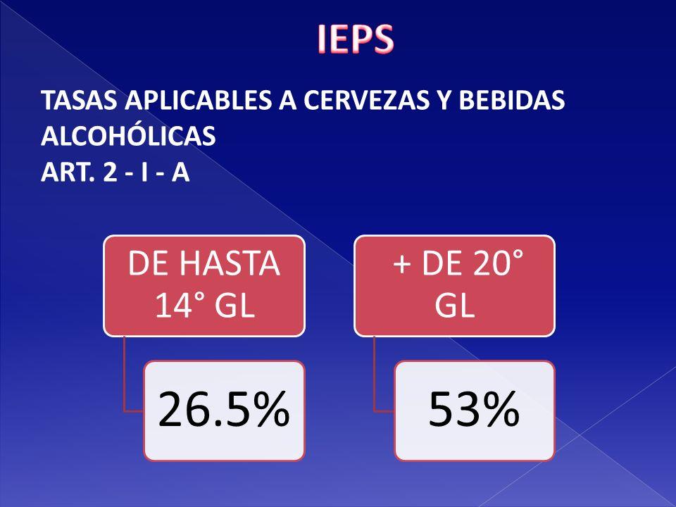 IEPS TASAS APLICABLES A CERVEZAS Y BEBIDAS ALCOHÓLICAS ART. 2 - I - A