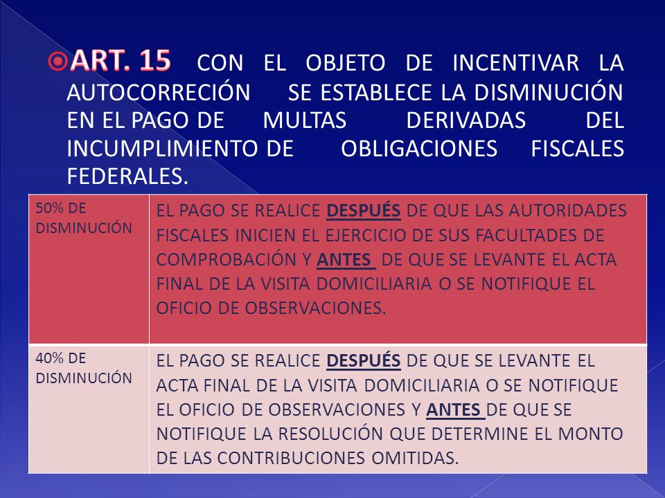 ART. 15. CON EL OBJETO DE INCENTIVAR LA AUTOCORRECIÓN