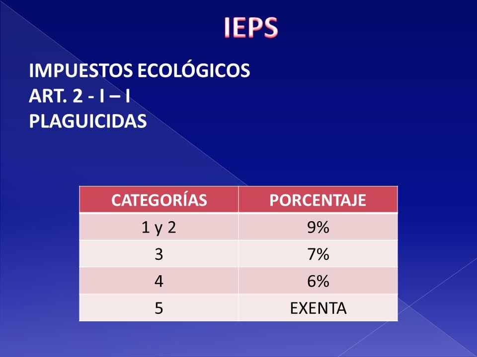 IEPS IMPUESTOS ECOLÓGICOS ART. 2 - I – I PLAGUICIDAS CATEGORÍAS