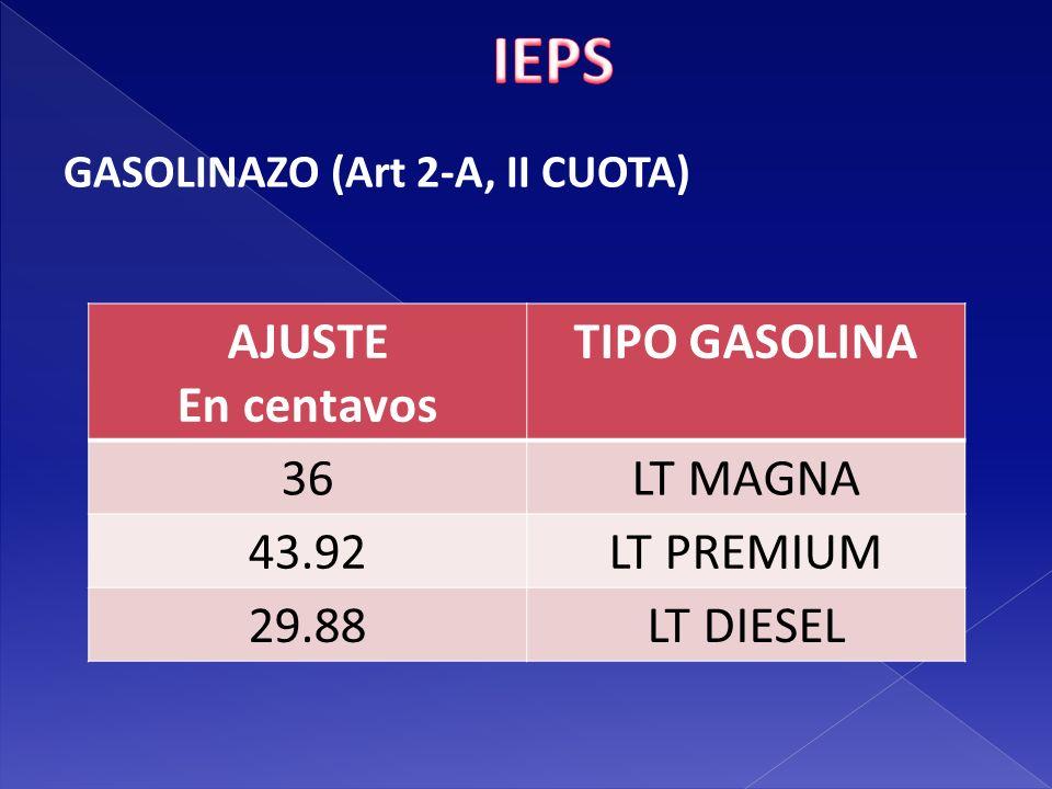 IEPS AJUSTE En centavos TIPO GASOLINA 36 LT MAGNA 43.92 LT PREMIUM