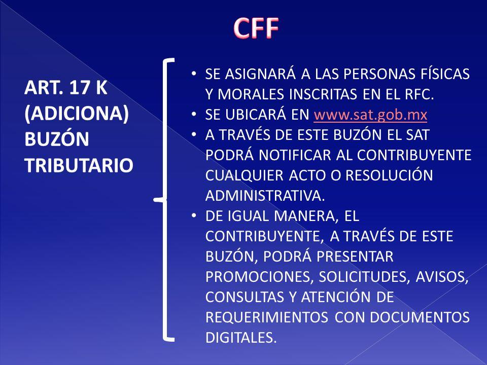 CFF ART. 17 K (ADICIONA) BUZÓN TRIBUTARIO