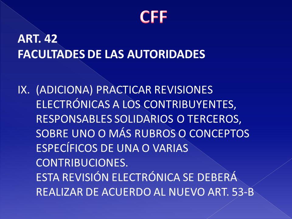 CFF ART. 42 FACULTADES DE LAS AUTORIDADES