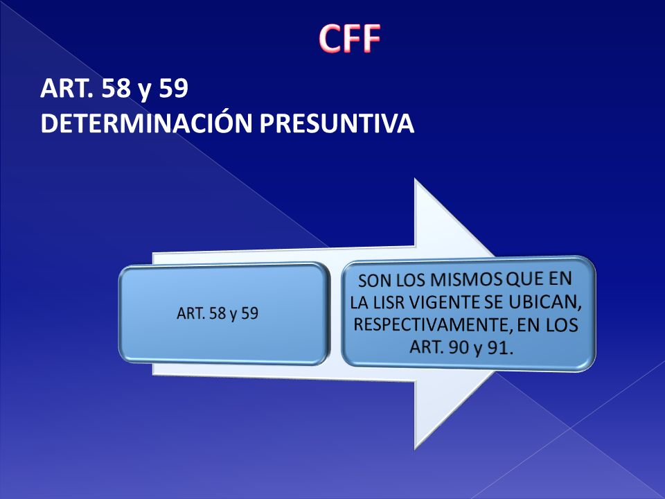 CFF ART. 58 y 59 DETERMINACIÓN PRESUNTIVA