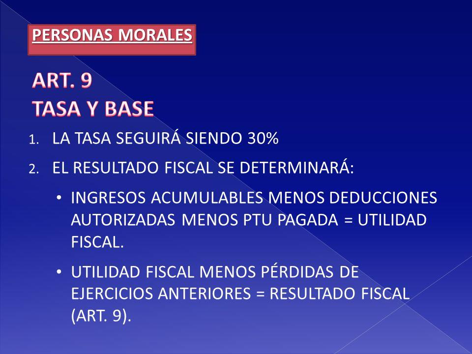 ART. 9 TASA Y BASE PERSONAS MORALES LA TASA SEGUIRÁ SIENDO 30%