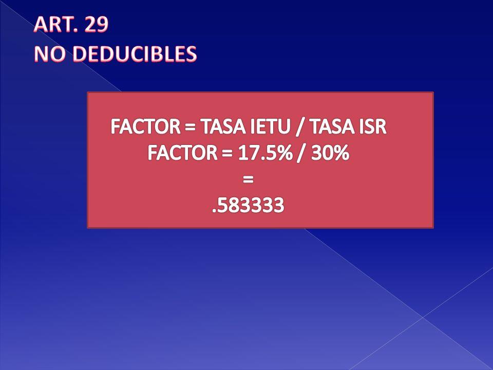 FACTOR = TASA IETU / TASA ISR
