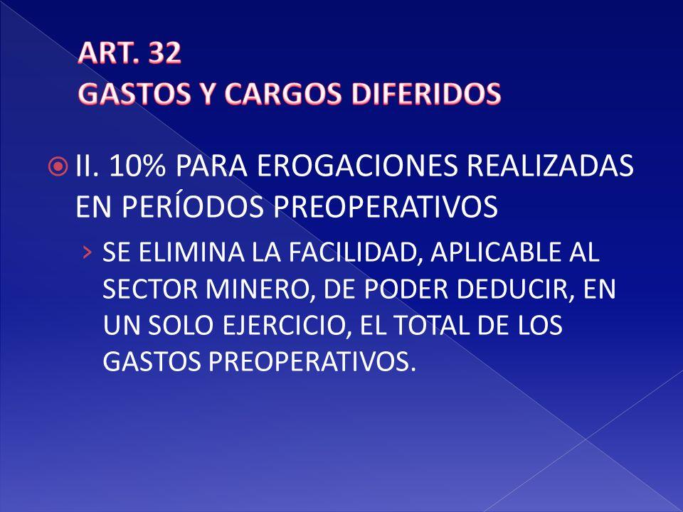 ART. 32 GASTOS Y CARGOS DIFERIDOS